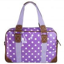 L1106D2 - panna Lulu Oilcloth Travel Bag Polka Dot Purple