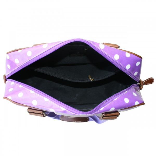 L1106D2 - Miss Lulu Oilcloth Travel Bag Polka Dot Purple