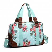 L1106F - Miss Lulu Oilcloth Travel Bag Floral Dot Blue