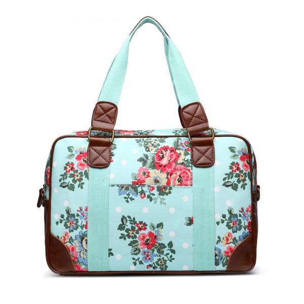 L1106F - Miss Lulu Oilcloth Travel Bag Floral Dot Blue