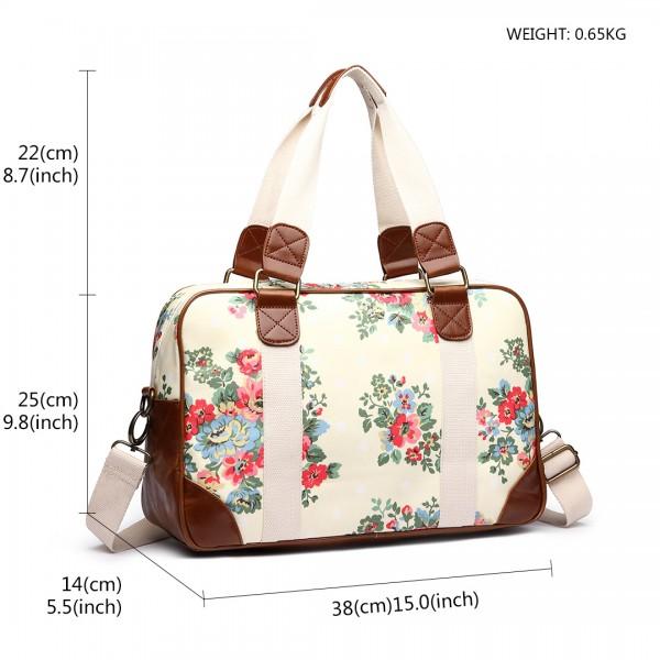 L1106F - Miss Lulu Oilcloth Travel Bag Floral Dot Beige