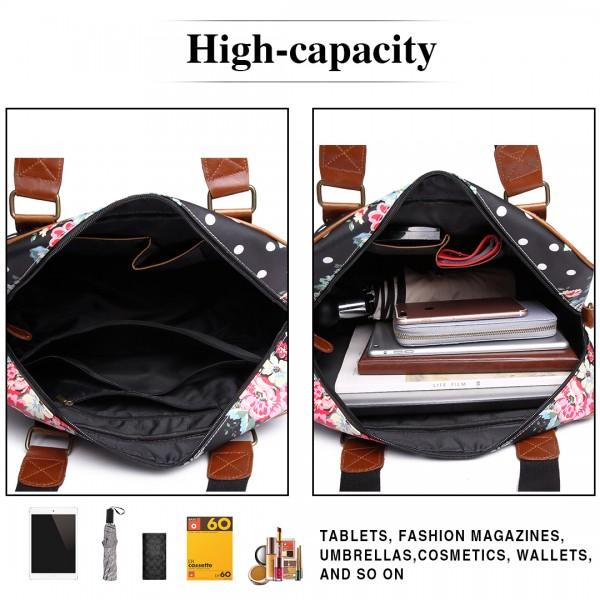 L1106F - Miss Lulu Oilcloth Travel Bag Floral Dot Black