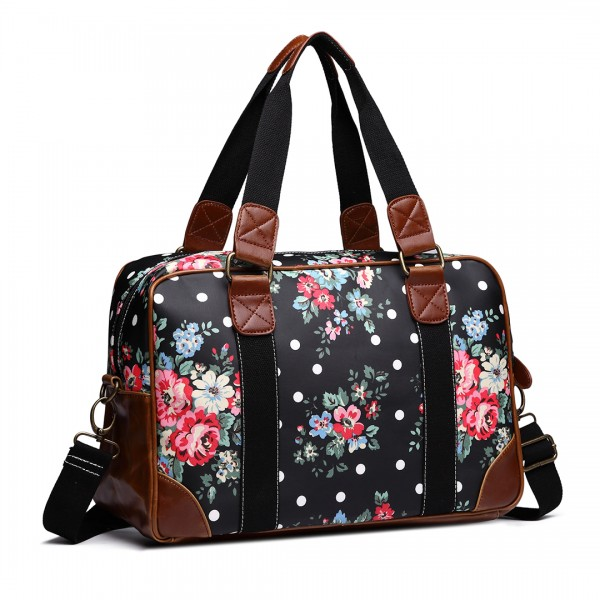 L1106F - Miss Lulu Oilcloth Travel Bag Floral Dot Black