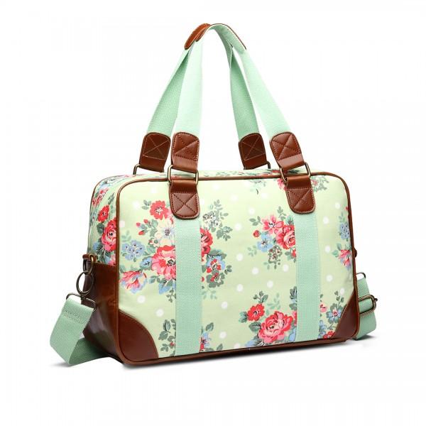 L1106F - Miss Lulu Oilcloth Travel Bag Floral Dot Green