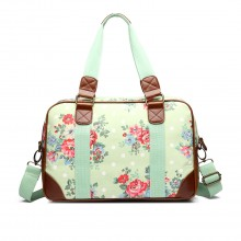 L1106F - Miss Lulu Oilcloth Travel Bag Floral Dot Green