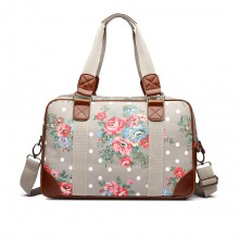 L1106F - Miss Lulu Oilcloth Travel Bag Floral Dot Grey