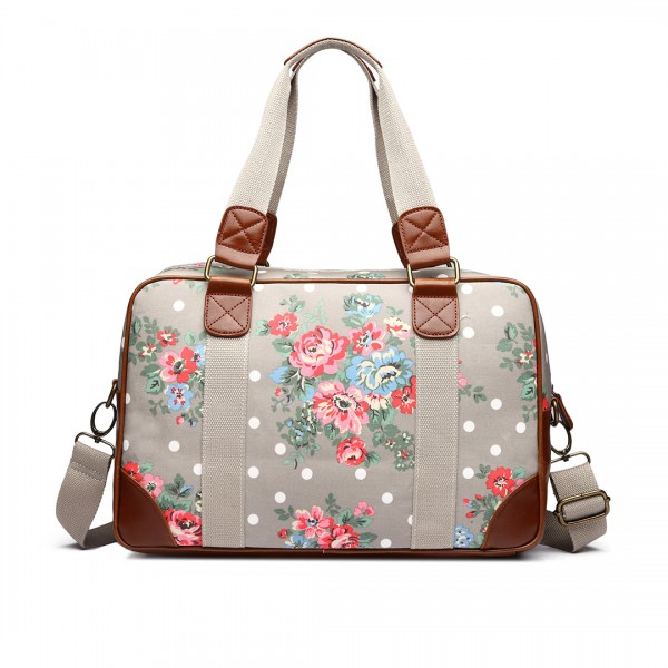 L1106F - Miss Lulu Oilcloth Travel Bag Floral Dot Grey