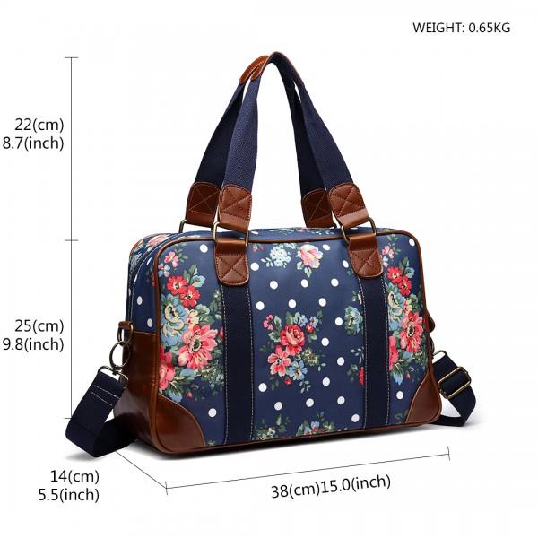 L1106F - Miss Lulu Oilcloth Travel Bag Floral Dot Navy