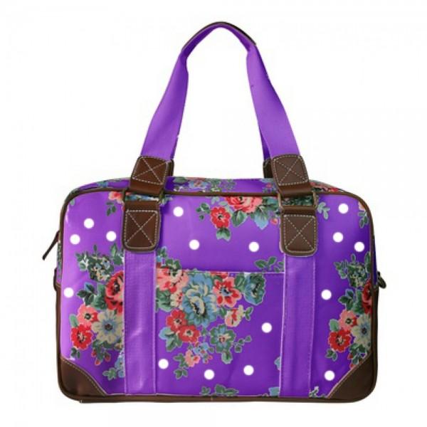 L1106F - Miss Lulu Oilcloth Travel Bag Floral Dot Purple