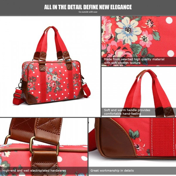 L1106F - Miss Lulu Oilcloth Travel Bag Floral Dot Plum