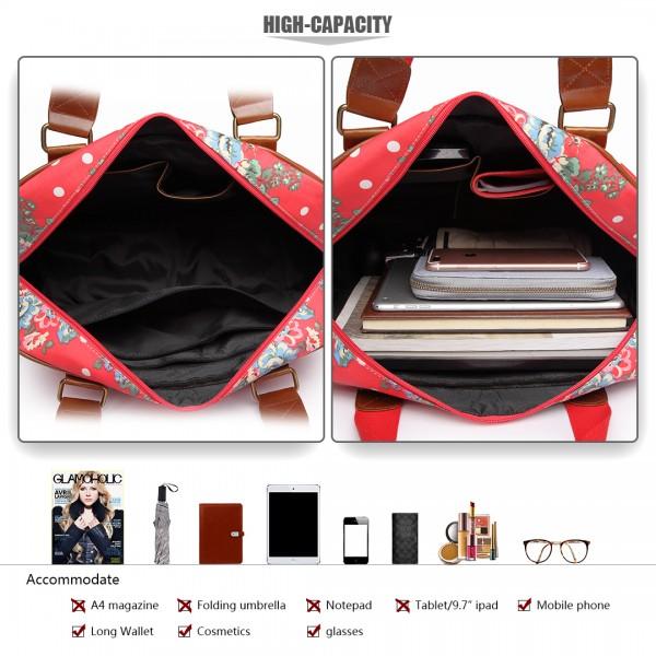 L1106F - Miss Lulu Oilcloth Travel Bag Floral Dot Plum