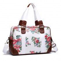 L1106F - Miss Lulu Oilcloth Travel Bag Floral Dot White
