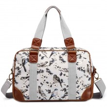 L1106-16J - Miss Lulu Oilcloth Travel Bag Bird Print Grey