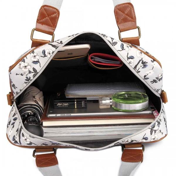 L1106-16J - Miss Lulu Oilcloth Travel Bag Bird Print Grey