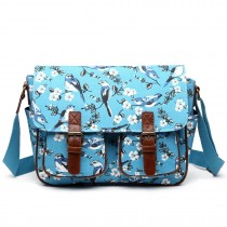 L1107-16J - Miss Lulu Oilcloth Satchel Bird Print Blue