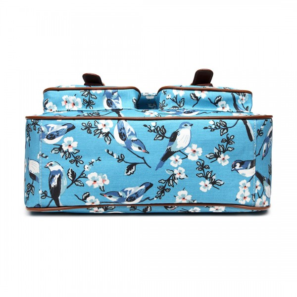 L1107-16J - Miss Lulu Oilcloth Satchel Bird Print Blue