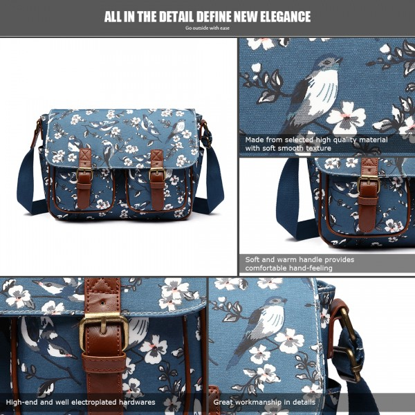 L1107-16J - Miss Lulu Oilcloth Satchel Bird Print Dark Blue