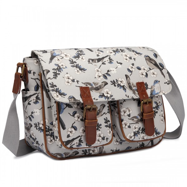 L1107-16J - Miss Lulu Oilcloth Satchel Bird Print Grey