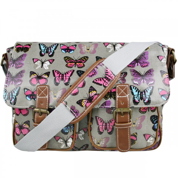 L1107B - Miss Lulu Oilcloth Satchel Butterfly Grey