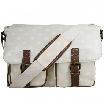 L1107D2 - Miss Lulu Oilcloth Satchel Polka Dot Light Pink