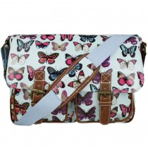 L1107B- panna Lulu Oilcloth Satchel Motyl Light Blue