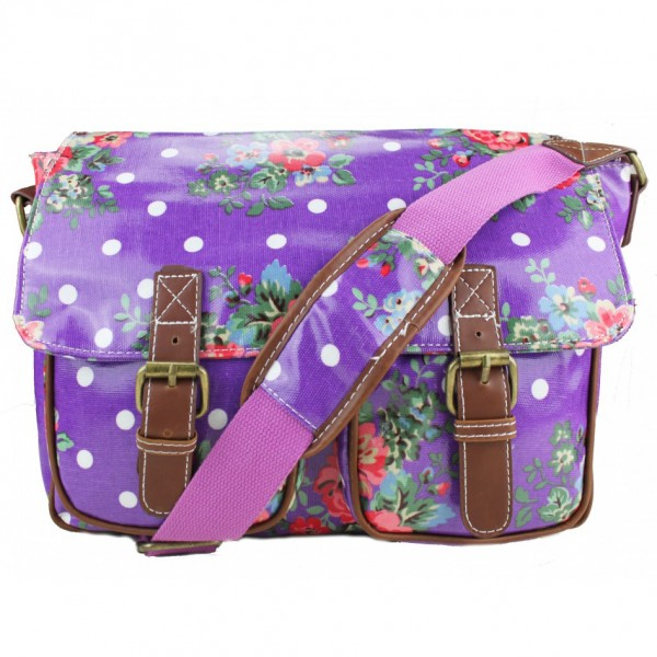 L1107F - Miss Lulu Oilcloth Satchel Flower Polka Dot Purple
