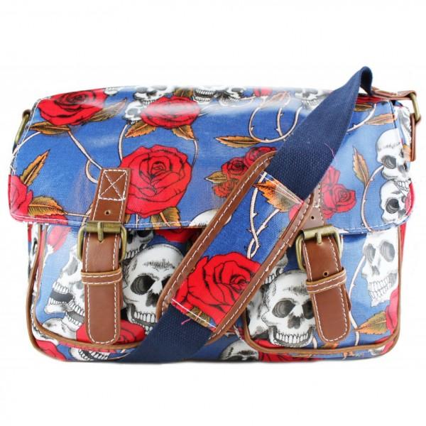 L1107SR - Miss Lulu Oilcloth Satchel Skull And Rose Blue