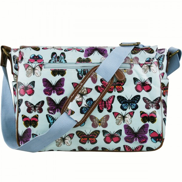L1107B - Miss Lulu Oilcloth Satchel Butterfly Light Blue