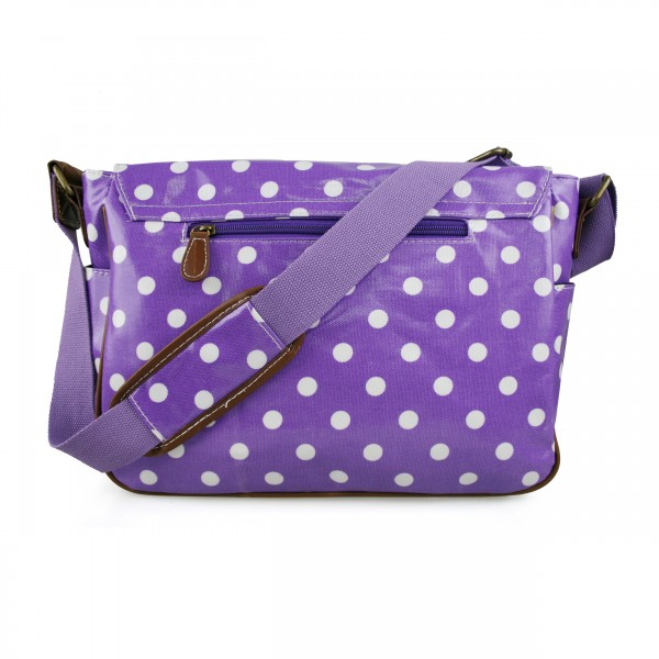 L1107D2 - Miss Lulu Oilcloth Satchel Polka Dot Purple
