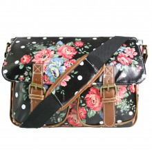 L1107F - Miss Lulu Oilcloth Satchel Flower Polka Dot Black