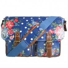 L1107F - Miss Lulu Oilcloth Satchel Flower Polka Dot Navy