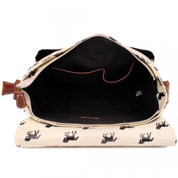 L1107H - Miss Lulu Oilcloth Satchel Horse Beige