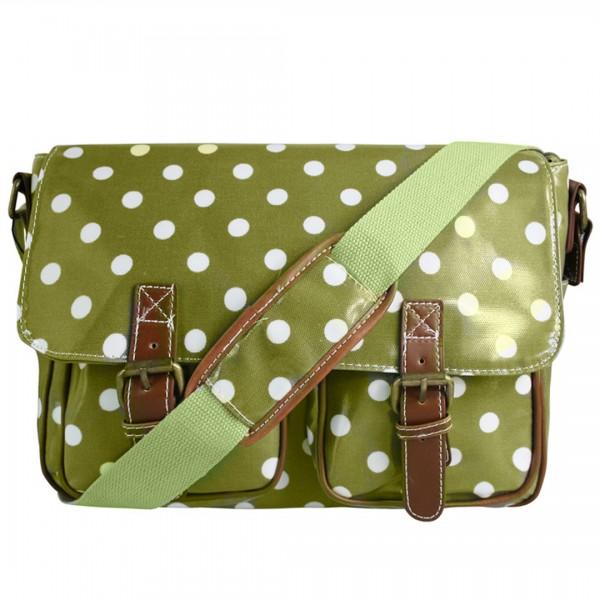 L1107D2 - Miss Lulu Oilcloth Satchel Polka Dot Light Green