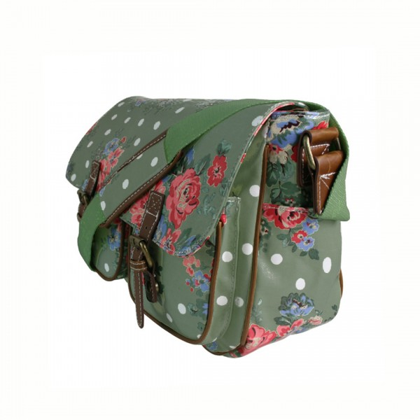 L1107F - Miss Lulu Oilcloth Satchel Flower Polka Dot Green