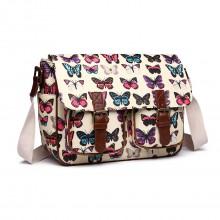L1107B - Miss Lulu Oilcloth Satchel Butterfly Beige
