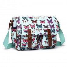 L1107B - Miss Lulu Oilcloth Satchel Butterfly Green