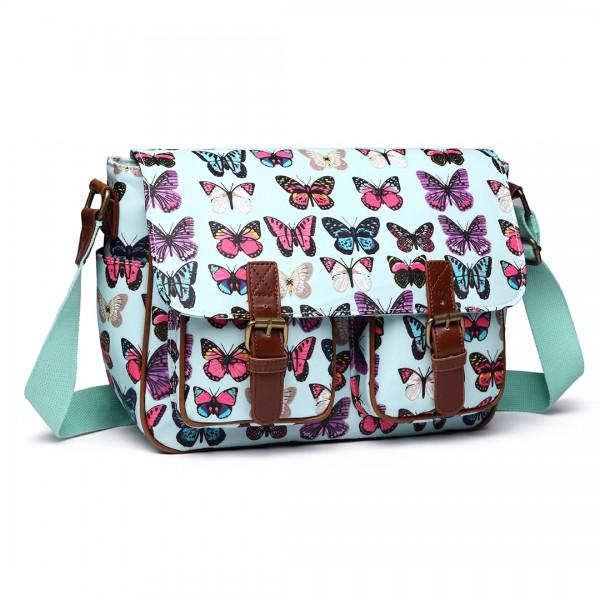 L1107B - Miss Lulu Oilcloth Satchel Butterfly Green