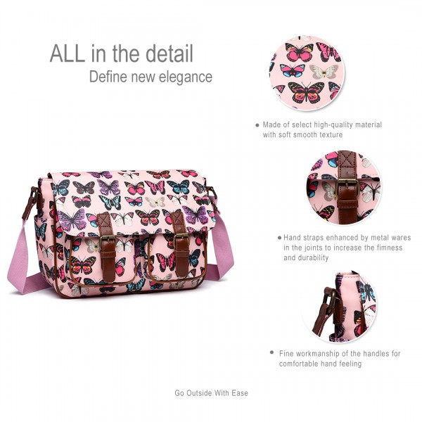 L1107B - Miss Lulu Oilcloth Satchel Butterfly Pink