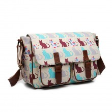 L1107CT - Miss Lulu Oilcloth Satchel Cat Beige