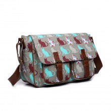L1107CT - Miss Lulu Oilcloth Satchel Cat Grey