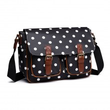 L1107D2 - Miss Lulu Oilcloth Satchel Polka Dot Black