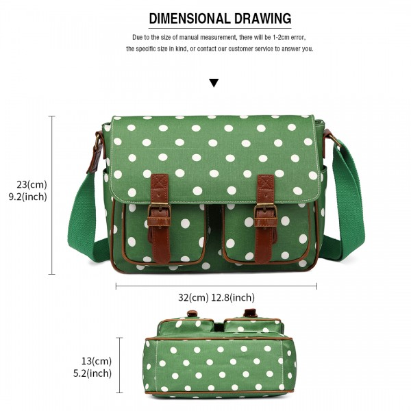 L1107D2 - Miss Lulu Oilcloth Satchel Polka Dot Green