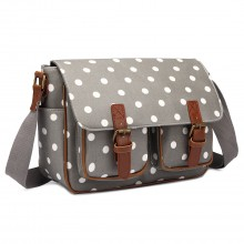 L1107D2 - Miss Lulu Oilcloth Satchel Polka Dot Grey