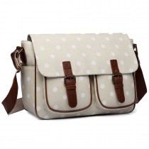 L1107D2 --Miss Lulu Oilcloth Satchel Polka Dot Light Pink