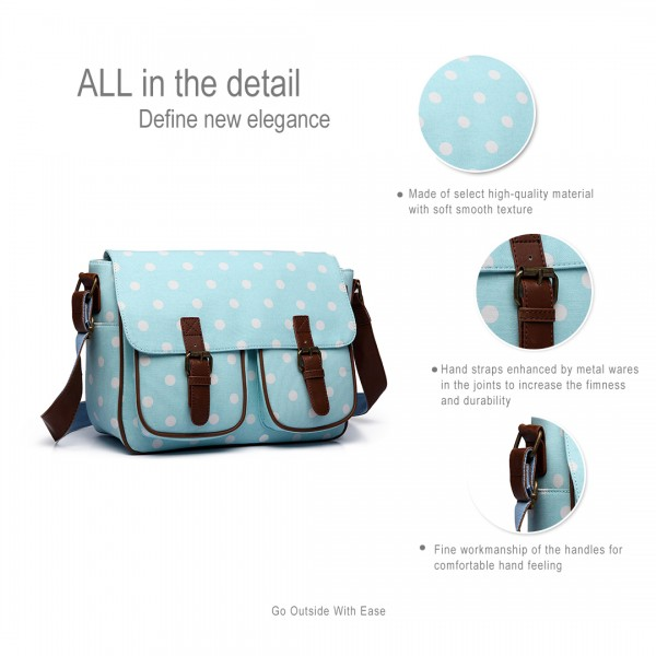 L1107D2 - Miss Lulu Oilcloth Satchel Polka Dot Light Blue