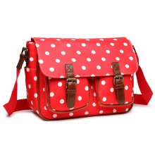 L1107D2 - Miss Lulu Oilcloth Satchel Polka Dot Red