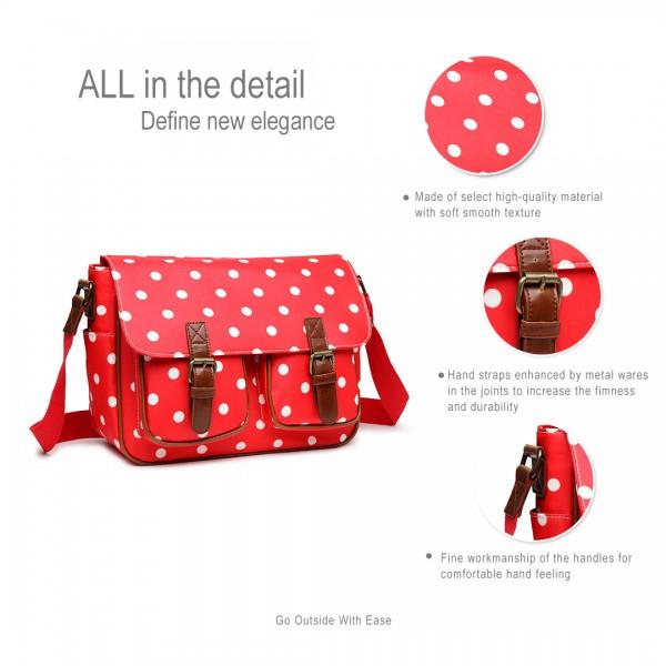 L1107D2 - Miss Lulu Oilcloth Satchel Polka Dot Red