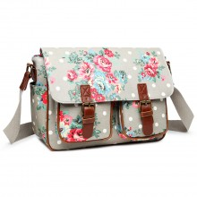 L1107F - Miss Lulu Oilcloth Satchel Flower Polka Dot Grey