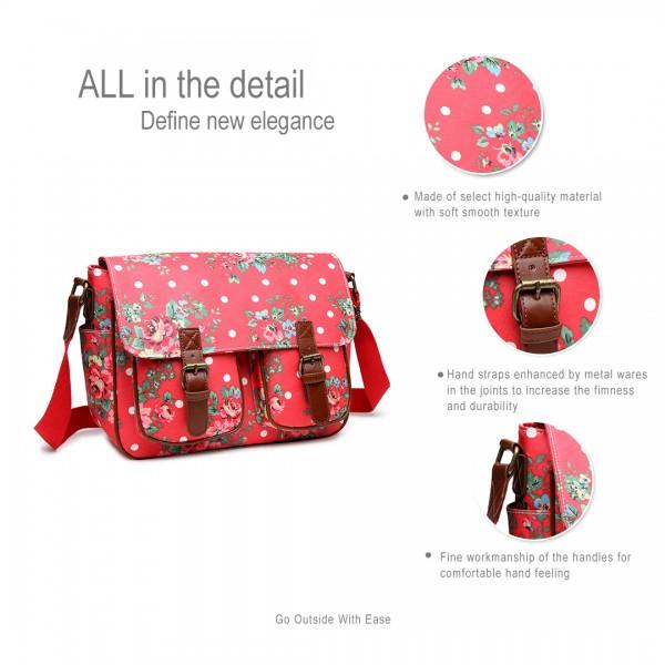 L1107F - Miss Lulu Oilcloth Satchel Flower Polka Dot Plum