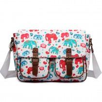 L1107NEW-E - Miss Lulu Oilcloth Satchel Elephant Beige